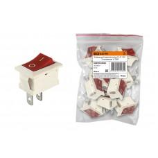 Клавишный переключатель YL-211-04 белый корпус красная клавиша 2 положения 1з TDM SQ0703-0022
