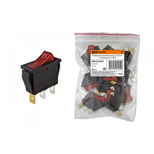 Клавишный переключатель YL-202-03 черный корпус красная клавиша 2 положения 1з TDM SQ0703-0025