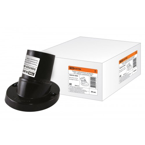 Патрон карболитовый настенный, Е27, черный. наклонный, TDM SQ0335-0005