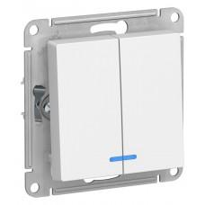 AtlasDesign Бел Выключатель 2-клавишный с подсветкой, сх.5а, 10АХ, механизм ATN000153