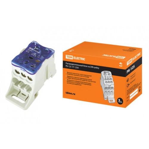 Распределительный блок на DIN-рейку РБ-125 1П 125А (1х35+1x16/6x16) TDM SQ0823-0002