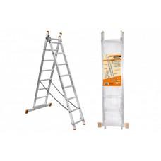 Лестница алюминиевая, ЛА2х7, 2х секционная х 7 ступеней, h=2880 мм, Народная SQ1028-0201