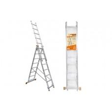 Лестница алюминиевая, ЛА3х10, 3х секционная х 10 ступеней, h=6270 мм, Народная SQ1028-0202