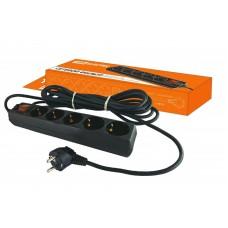 Сетевой фильтр СФ-05В выключатель, 5 гнезд, 3 метра, с заземлением, ПВС 3х1мм2 16А/250В TDM SQ1304-0002