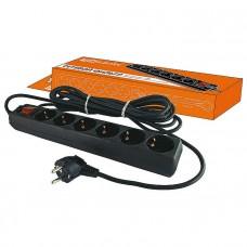 Сетевой фильтр СФ-06В выключатель, 6 гнезд, 3 метра, с заземлением, ПВС 3х1мм2 16А/250В TDM SQ1304-0012