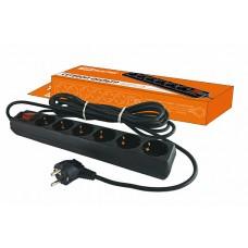 Сетевой фильтр СФ-06В выключатель, 6 гнезд, 5 метров, с заземлением, ПВС 3х1мм2 16А/250В TDM SQ1304-0013