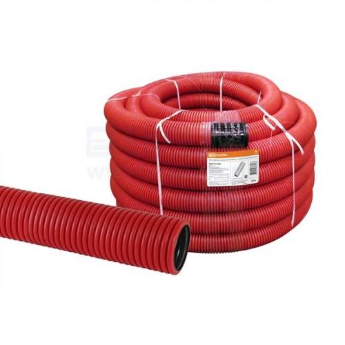 Труба гофрированная двустенная ПНД d 90 с зондом (50 м) красная, EKF PROxima tg2st-90-50m