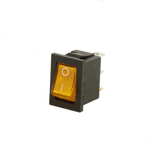Выключатель клавишный 12V 15А (3с) ON-OFF желтый  с подсветкой  Mini  REXANT 36-2172
