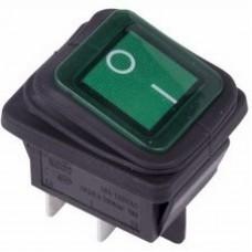 Выключатель клавишный 250V 15А (4с) ON-OFF зеленый  с подсветкой  ВЛАГОЗАЩИТА  REXANT 36-2362