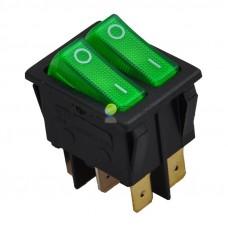 Выключатель клавишный 250V 15А (6с) ON-OFF зеленый  с подсветкой  ДВОЙНОЙ  REXANT 36-2412