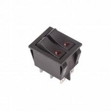 Выключатель клавишный 250V 15А (6с) ON-OFF черный  с подсветкой  ДВОЙНОЙ  REXANT 36-2430