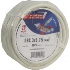 Провод соединительный ПВС 3x0,75 мм?, длина 10 метров, ГОСТ 7399-97  REXANT 01-8042-10