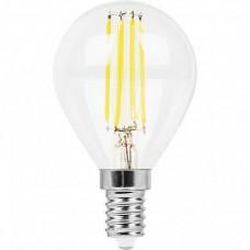 Лампа светодиодная LB-509 (9W) 230V E14 4000K филамент G45 прозрачная 38002