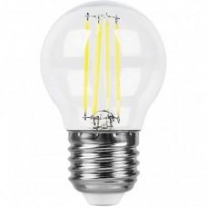 Лампа светодиодная LB-509 (9W) 230V E27 4000K филамент G45 прозрачная 38004