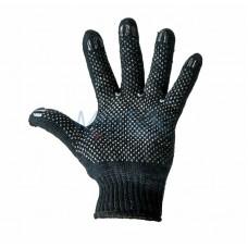 Перчатки полушерстяные с покрытием ПВХ («Зима») черные, 7 нитей, 75-77 г 09-0211