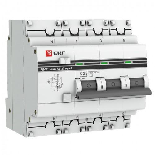 Дифференциальный автомат АД-32 3P+N 25А/300мА (хар. C, AC, электронный, защита 270В) 4,5кА EKF PROxi DA32-25-300-4P-pro
