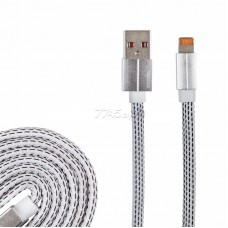 USB кабель для iPhone 5/6/7/8/X моделей, плоский шнур текстиль белый 18-1979-9