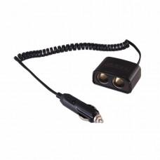 Разветвитель автоприкуривателя 2 гнезда шнур спираль 1.5 м REXANT 16-0223