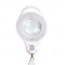 Лупа на струбцине REXANT, круглая, 5D, с подсветкой 96 LED, теплый и холодный свет, белая 31-0535