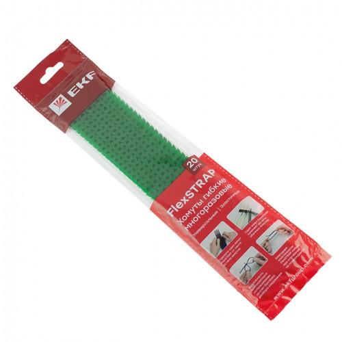 Хомут гибкий (20 шт.) черный FlexSTRAP EKF plc-fs-br