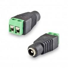 Разъем питание на кабель, штекер 2,1х5,5x10мм. с клеммной колодкой, (1шт.)  REXANT 06-0073-A