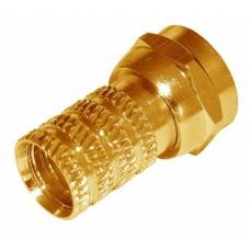 Разъем антенный на кабель, штекер F для кабеля RG-6, GOLD, (5шт.) (пакет)  PROconnect 05-4003-5-9
