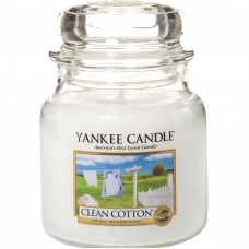 Свеча средняя в стеклянной банке Чистый хлопок Clean Cotton 411 гр / 65-90 часов 1010729E