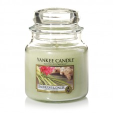 Свеча средняя в стеклянной банке Лемонграсс и имбирь Lemongrass & Ginger NEW 411 гр / 65-90 часов 1507705E