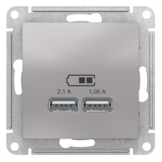 AtlasDesign Алюминий Розетка USB, 5В, 1 порт x 2,1 А, 2 порта х 1,05 А,механизм ATN000333
