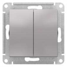 AtlasDesign Алюминий Выключатель 2-клавишный сх.5, 10АХ, механизм ATN000351