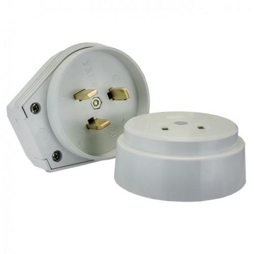 Разъем РШ-ВШ 32А 250В 2P+PE (ОУ) пластиковый бел. EKF PROxima AS-250-O-01