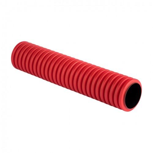 Труба гофрированная двустенная ПНД d 75 с зондом (50 м) красная, EKF PROxima tg2st-75-50m