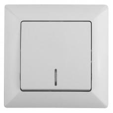 4-102-01 Intro Выключатель с подсветкой, 10А-250В, СУ, Solo, белый (10/200/2400) Б0043270