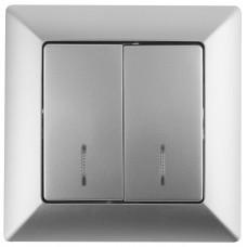 4-102-03 Intro Выключатель с подсветкой, 10А-250В, СУ, Solo, алюминий (10/200/2400) Б0043272