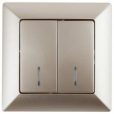 4-105-04 Intro Выключатель двойной с подсветкой, 10А-250В, СУ, Solo, шампань (10/200/2000) Б0043294