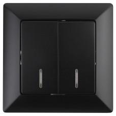 4-105-05 Intro Выключатель двойной с подсветкой, 10А-250В, СУ, Solo, антрацит (10/200/2400) Б0043295