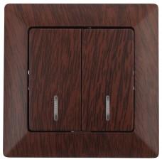 4-105-10 Intro Выключатель двойной с подсветкой, 10А-250В, СУ, Solo, венге (10/200/3200) Б0043296