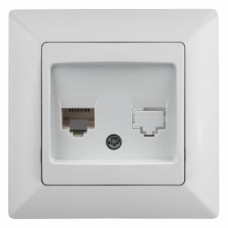 4-303-01 Intro Розетка информационная RJ45, СУ, Solo, белый (10/200/2400) Б0043382
