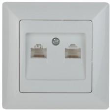 4-304-01 Intro Розетка информационная 2xRJ45, СУ, Solo, белый (10/200/2400) Б0043389