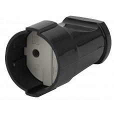 Rx1-B ЭРА Розетка кабельная б/з прямая 10A черная Б0039681