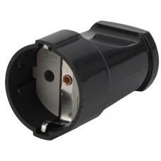 Rx2-B ЭРА Розетка кабельная с/з прямая 16A черная Б0039683