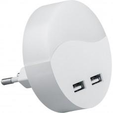FN1122  0,45W 230V светильник ночной с USB выходами, круг, белый 41021