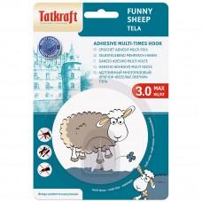 18655 Tatkraft  FUNNY SHEEP DOLLY адгезивный крючок. Диаметр 8 см. До 3 кг. Упаковка блистер. Авторский дизайн 18655