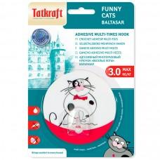 18242 Tatkraft  FUNNY CATS TREUFELDT адгезивый крючок. Диаметр 8 см. До 3 кг. Упаковка блистер. Авторский дизайн. 18242