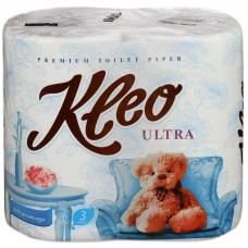 Туалетная бумага Мягкий знак KLEO ULTRA, 3 слоя, 4 рулона С86