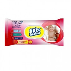 Влажные  салфетки  100% Чистоты для детей 120шт. Витамин Е КЛАПАН  14шт 1127772