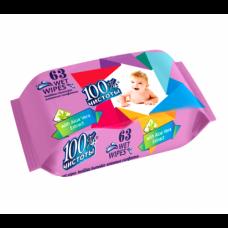 Влажные  салфетки  100% Чистоты для детей 63шт. алоэ   22шт 1127774