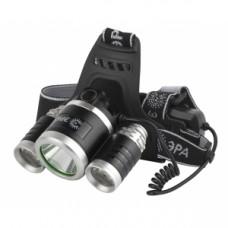 GA-809  ЭРА налобный аккумуляторный, трехламповый High Power Headlamp  [5 Вт CREE, алюминий, Б0039627